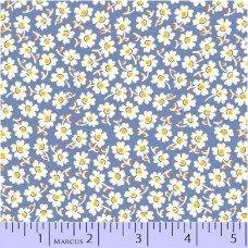 Aunt Grace - Flowers Blue Yardage