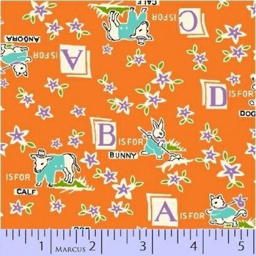 Aunt Grace - Farm Animals Orange Yardage