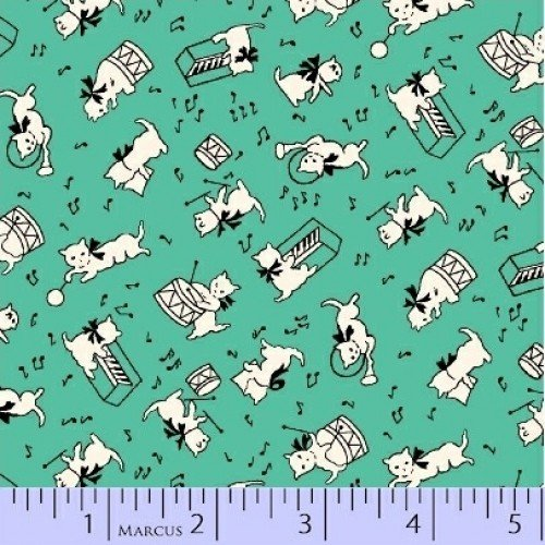 Aunt Grace - White Cat Turquoise Yardage