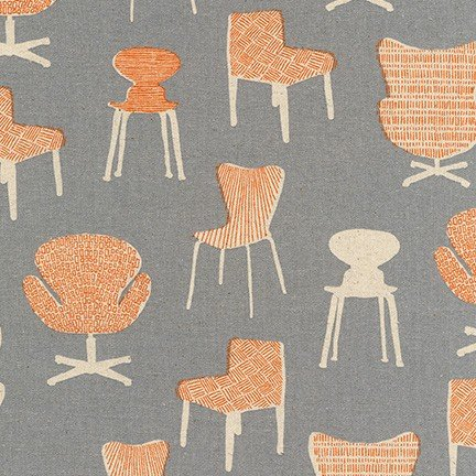 Chairs Grey & Orange Cotton/Flax Blend