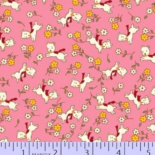 Aunt Grace - Puppies Pink Yardage