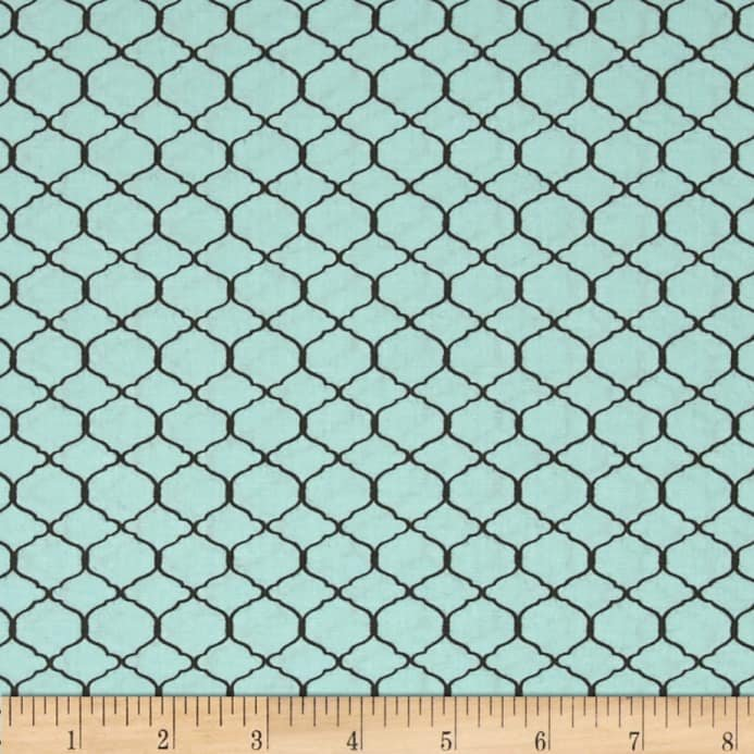 Bohemian Roosters Chicken Wire Blue Fabric
