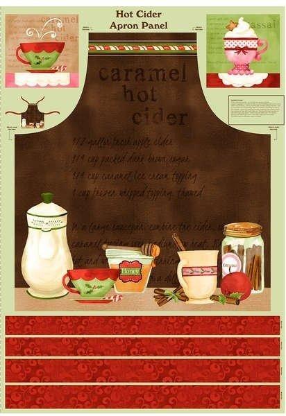 Christmas Apron Panel - Hot Cider