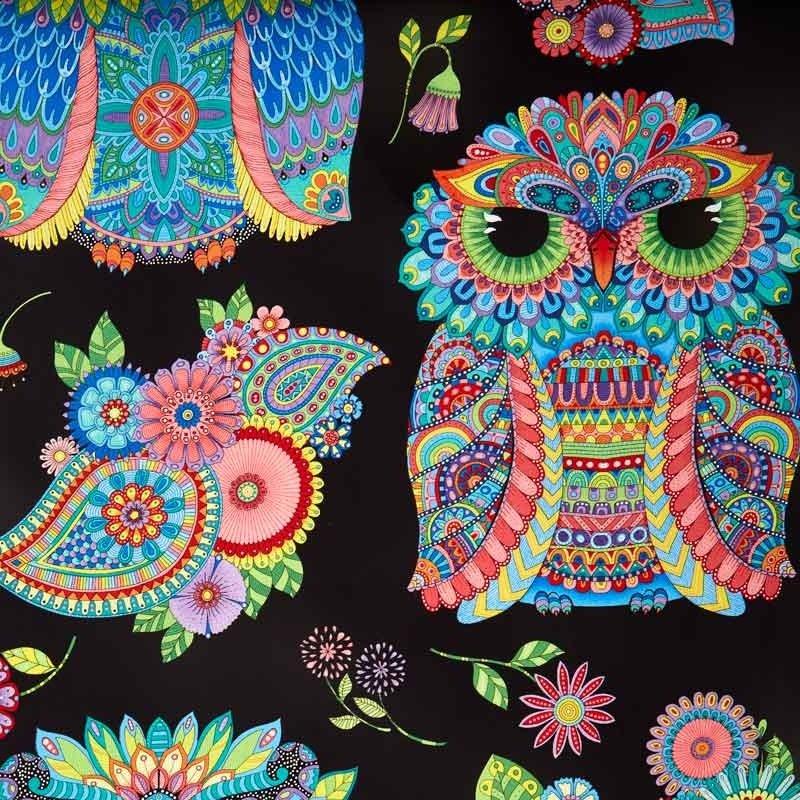 Night Bright Owl Panel Black