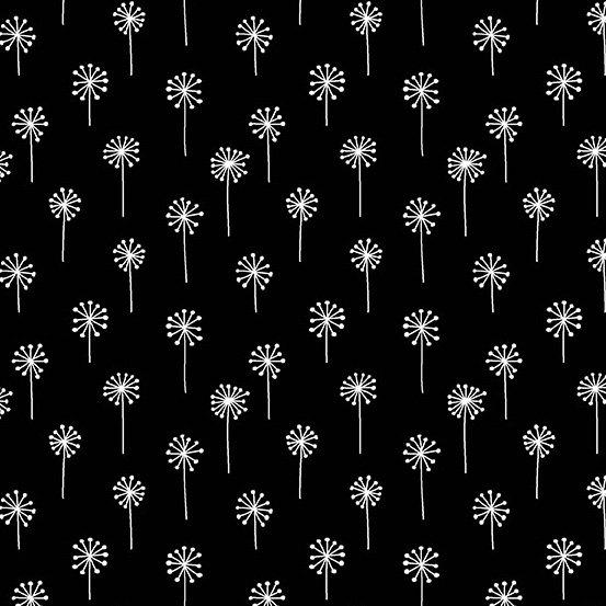 Dandelions on Black Tuxedo by Andover Fabrics