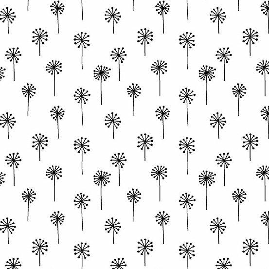 Dandelions on White Tuxedo by Andover Fabrics
