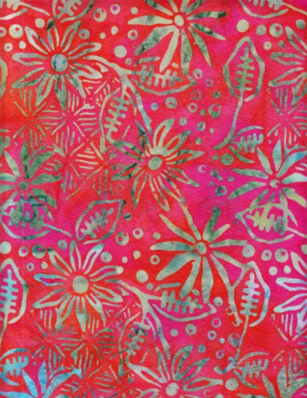 Multi Flowers on Red Batik