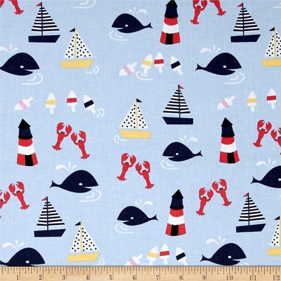Dear Stella Rock Lobster Nautical Aquatic Fabric