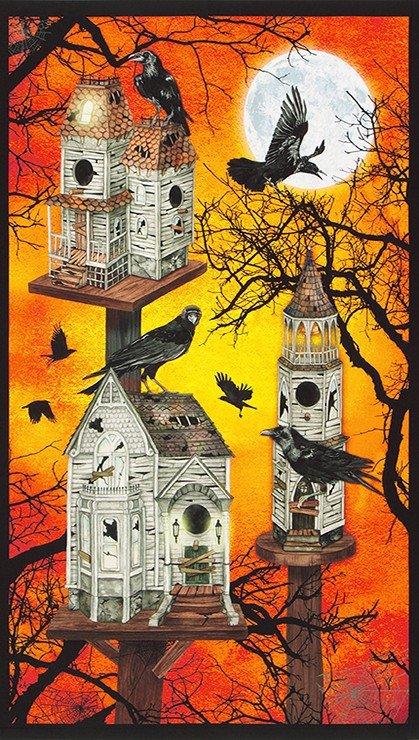 Raven Moon Panel AWHD-18483-148 PUMPKIN by Robert Kaufman Fabics