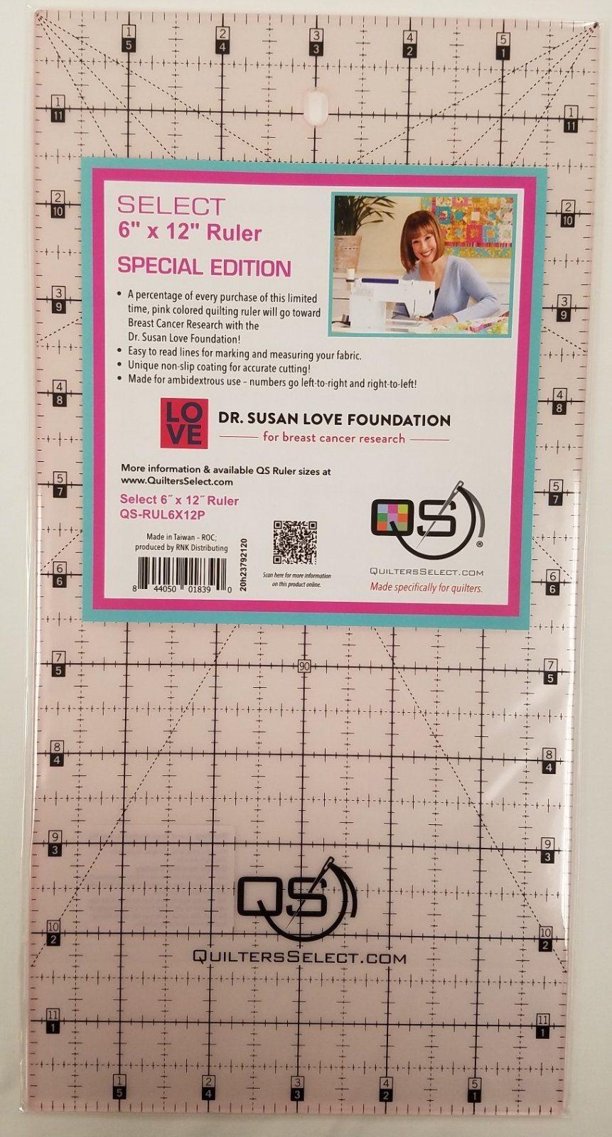Quilters Select 6x12 Ruler - Pink