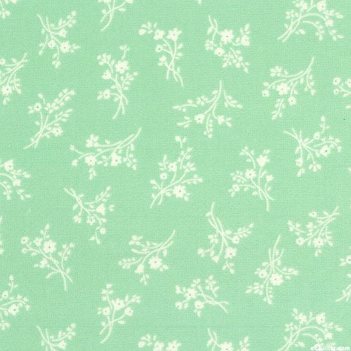 Afternoon in the Attic - Fresh Floral - Mint Green - FLANNEL