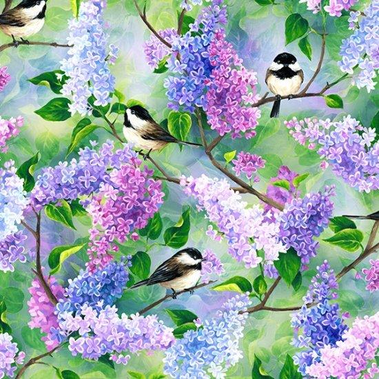 Chickadee Focal - Spring Song for Hoffman Fabrics