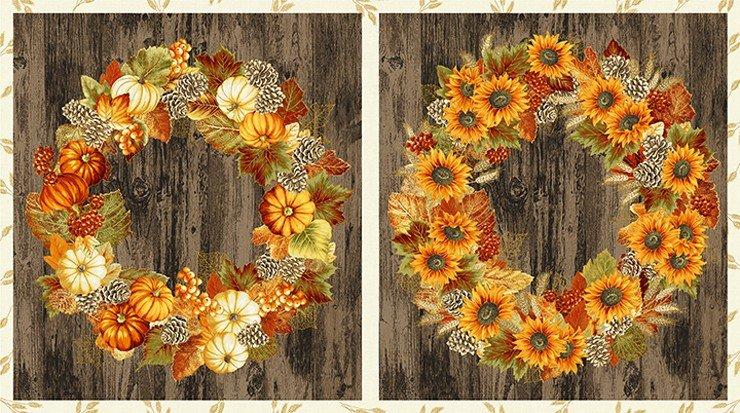 Autumn Beauties Metallic Wreath Panel SRKM-19314-191 AUTUMN by Robert Kaufman Fabrics