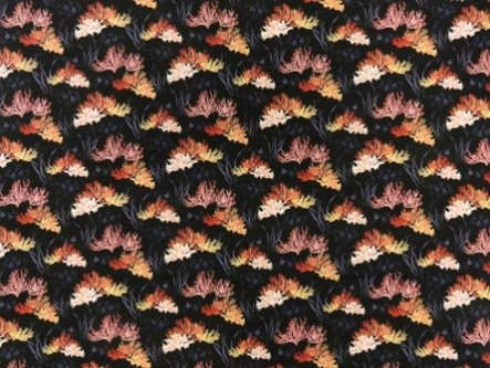 Hawaiian Broadcloth GA16137 Black with Coral