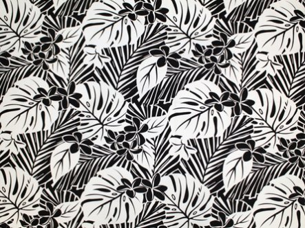 Hawaiian Broadcloth LW18634 Black and White Large Leaves