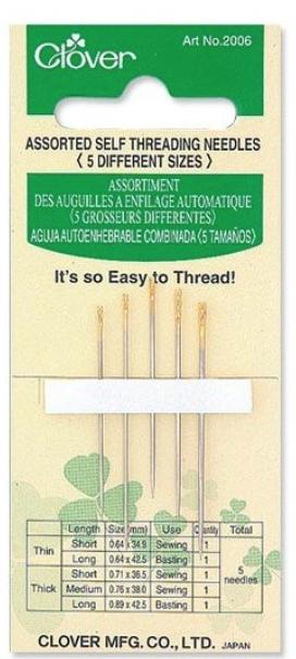 Clover Self Threading Needles (Asst)