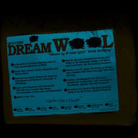 Quilters Dream 100% wool batting 93 wide queen