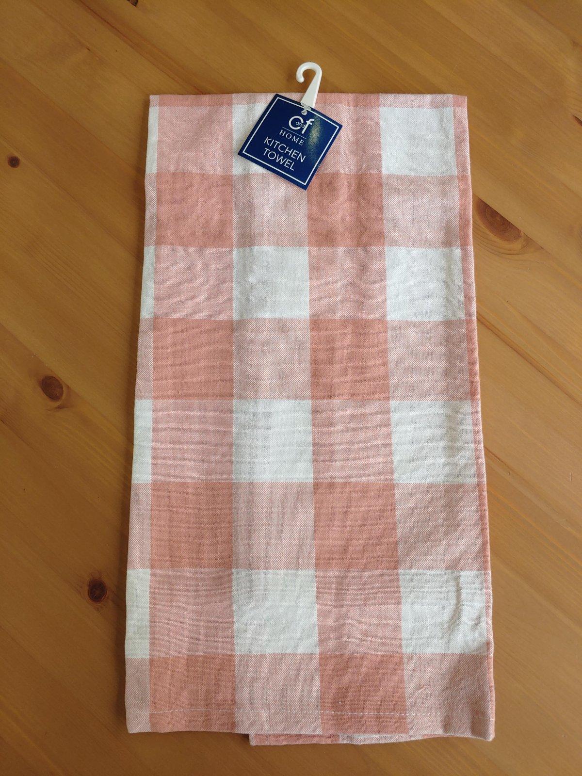 Coral Check Tea Towel