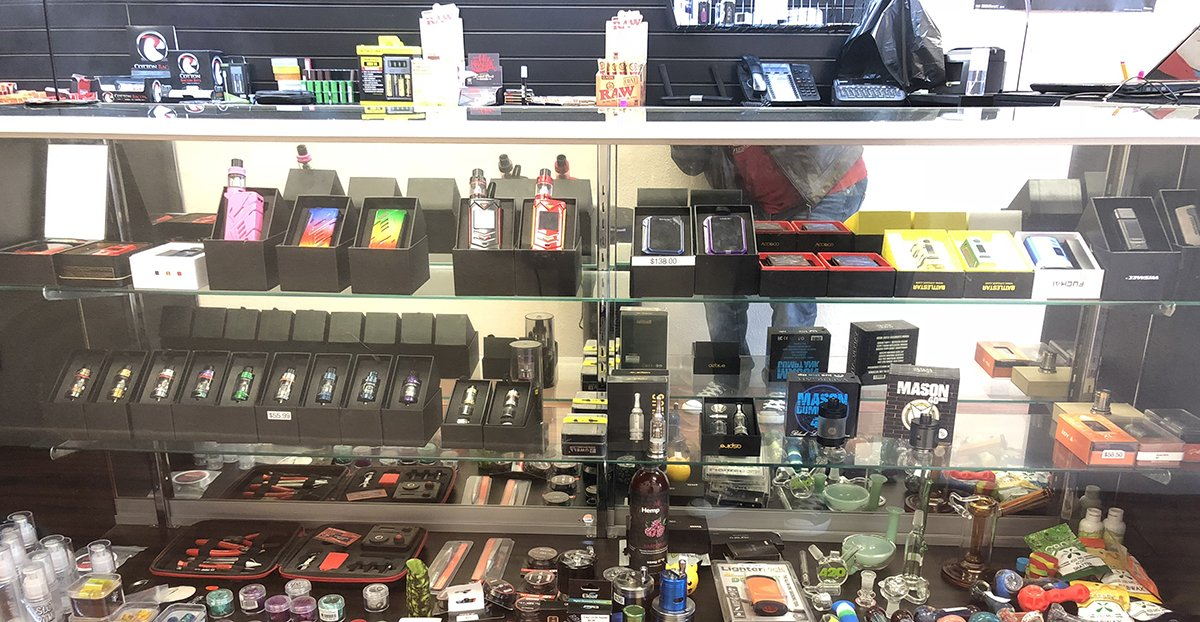 Display Case full of Vape Products