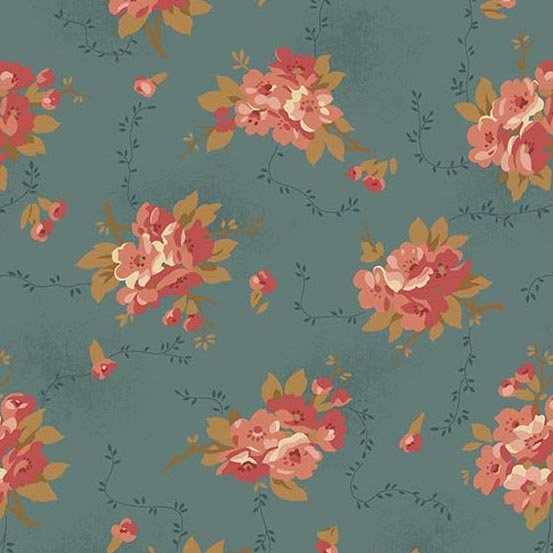 Andover Bed of Roses Dahlia Dusty Blue by Edyta Sitar from Laundry Basket Quilts