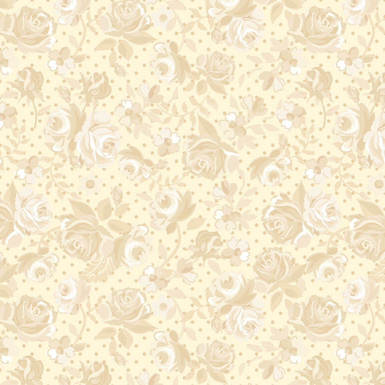 Benartex Bonnie Lane Coral Ribbon Rose by Pat Sloan (6710B-02).