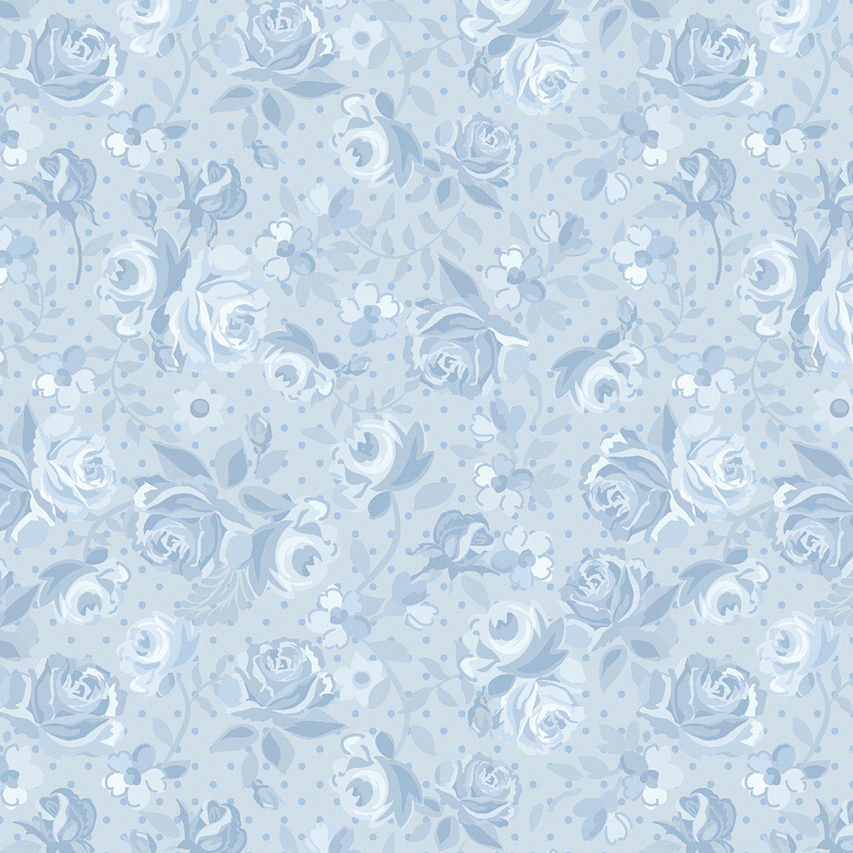 Benartex Bonnie Lane Sky Blue Ribbon Rose by Pat Sloan (6710B-05).