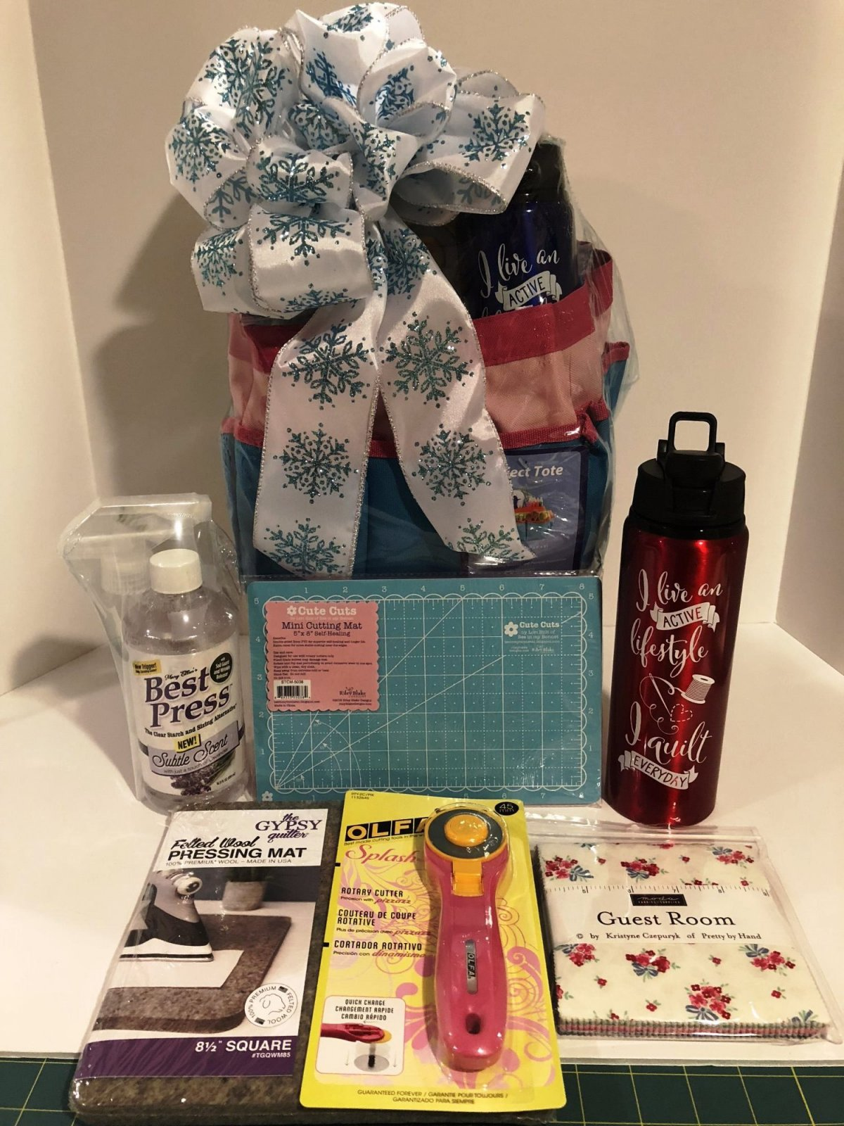 Pink & Blue Project Tote Gift Basket