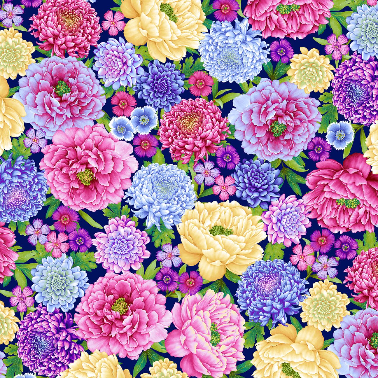 Henry Glass Gossamer Garden Lg Floral All Over Royal