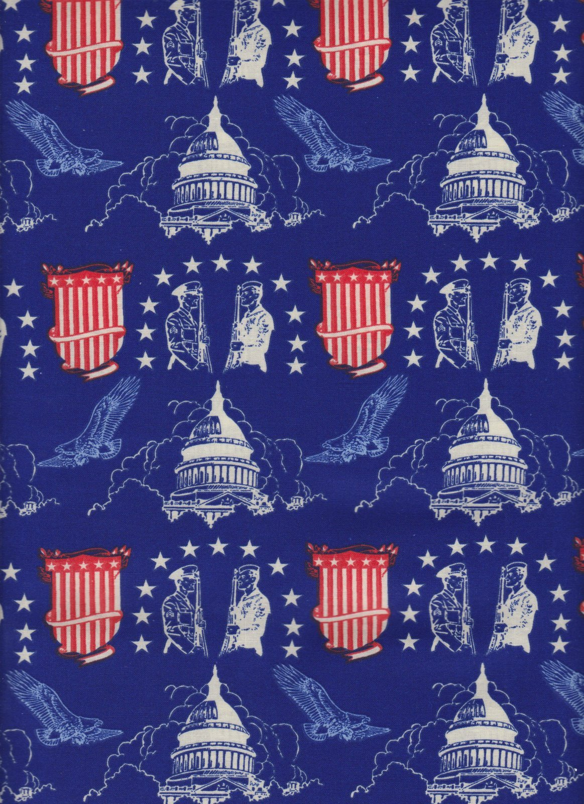 Capitol Building Blue and Red Fabric