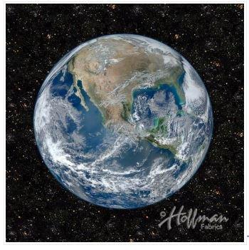 Earth Digitally Printed Fabric Panel by Hoffman Fabrics
