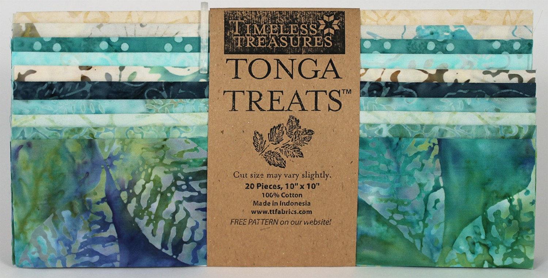Tonga Treats Surf Batiks by Timeless Treasures - 10 x 10 squares, 20 pieces