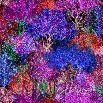 Hoffman Fabrics Christmas Lighted Trees Digitally Printed Fabric
