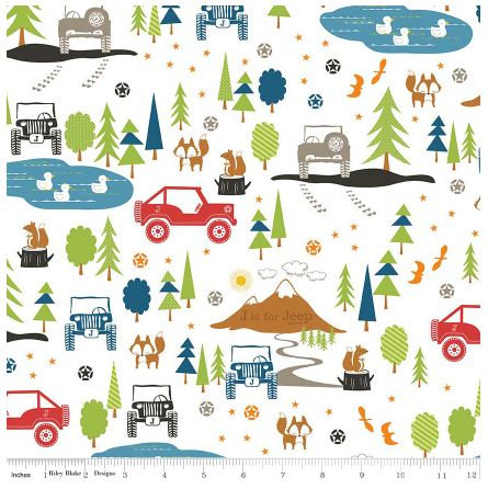 Riley Blake J is for Jeep White Flannel Fabric