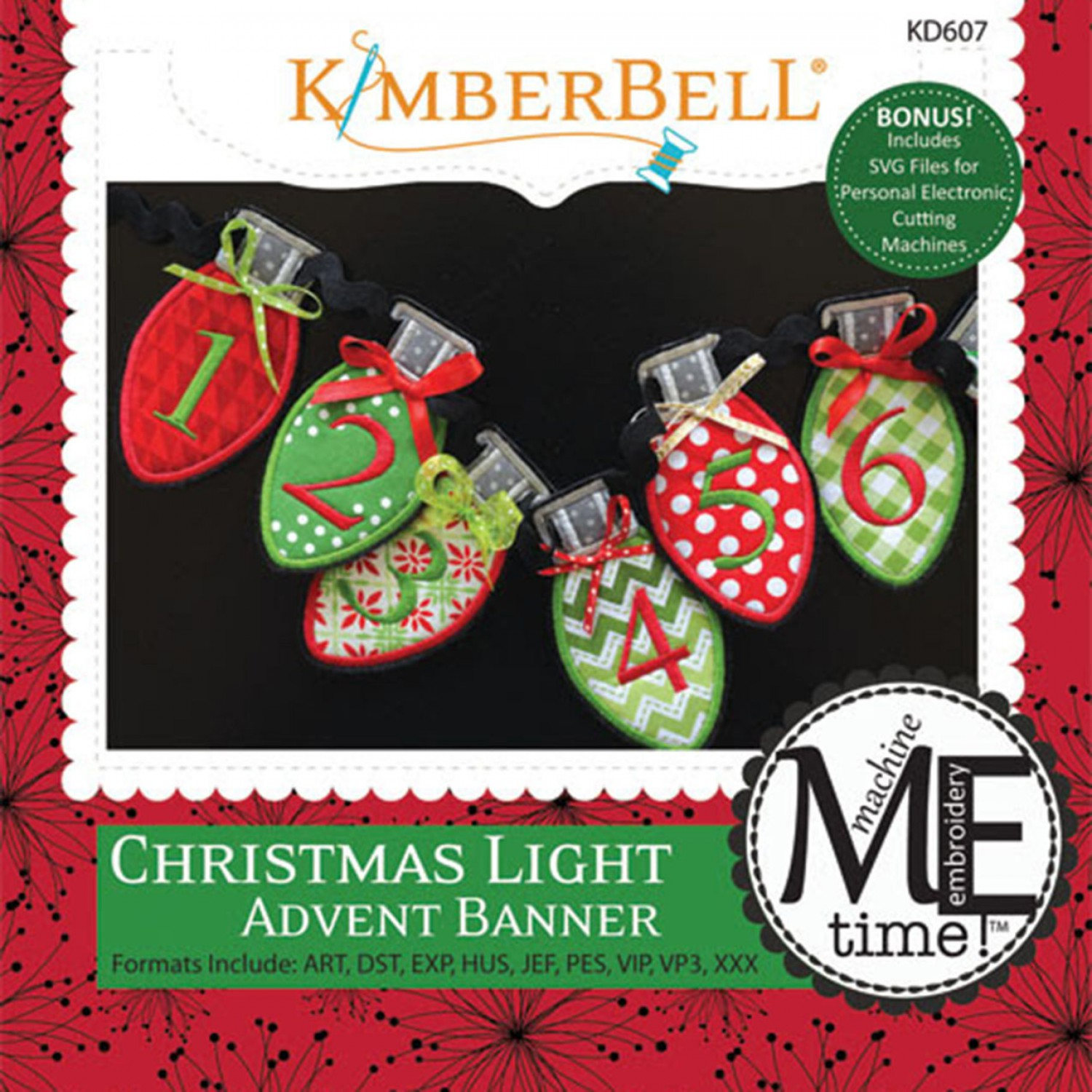 Christmas Light Advent Banner Machine Embroidery CD/Pattern