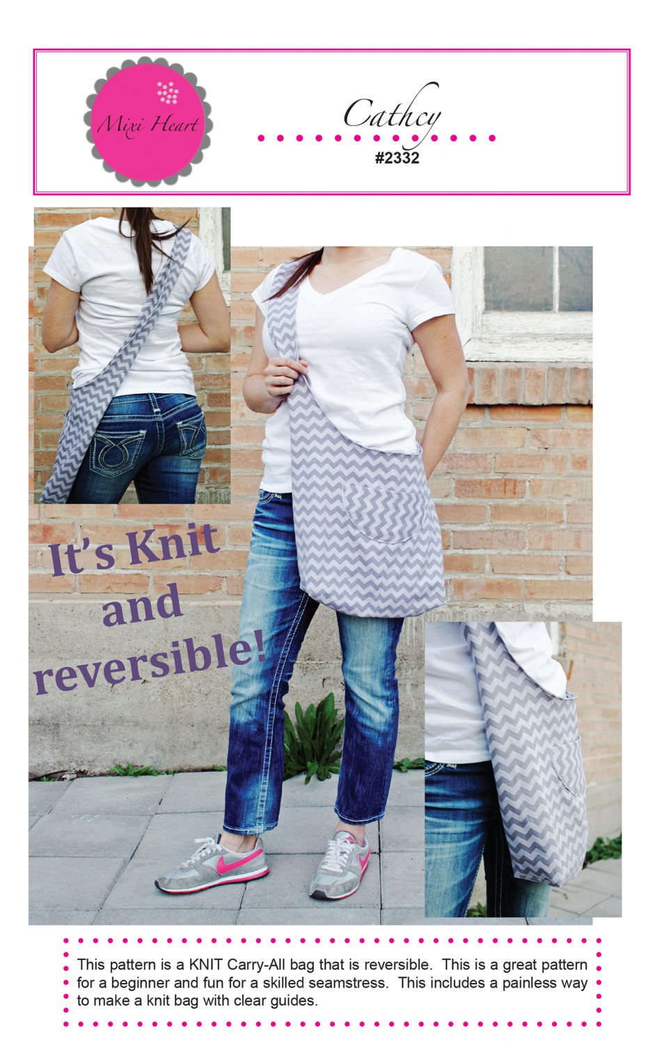 Catchy Knit Carry-All, Reversible Purse Pattern