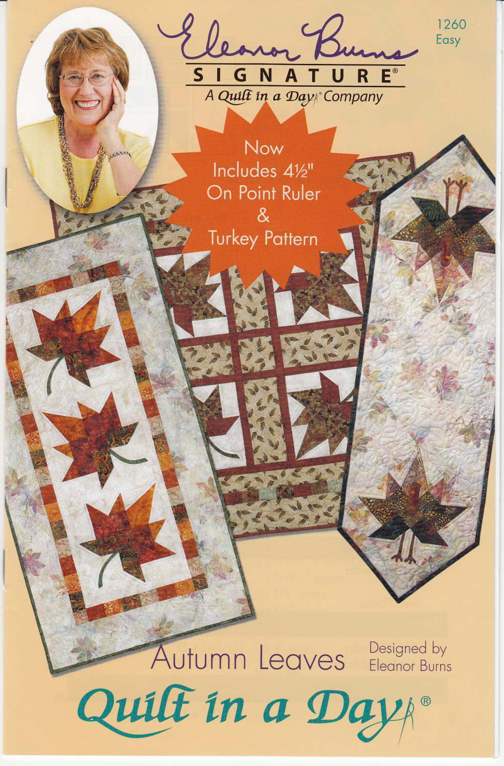 Autumn Leaves Quilt Pattern by Eleanor Burns - Acrylic template included