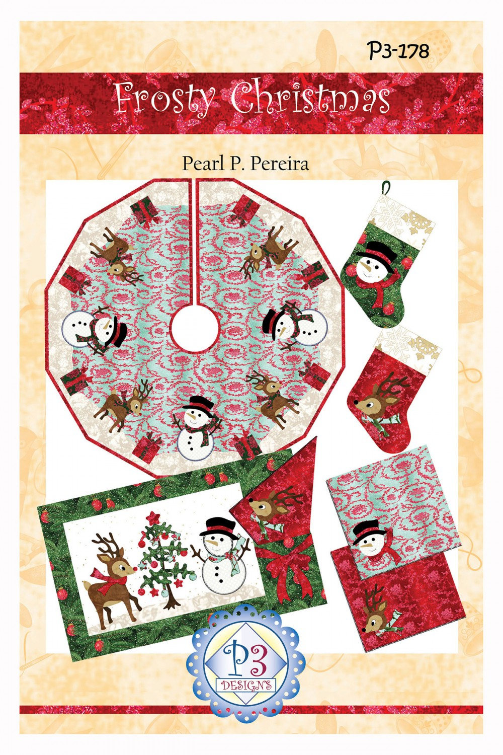 Frosty Christmas Tree Skirt Quilt Pattern