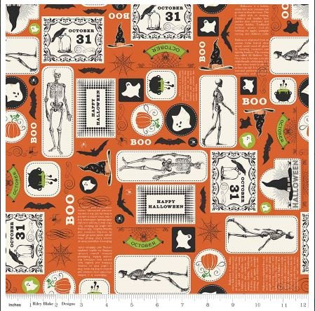 Shriek Orange Halloween Fabric by Riley Blake Designs
