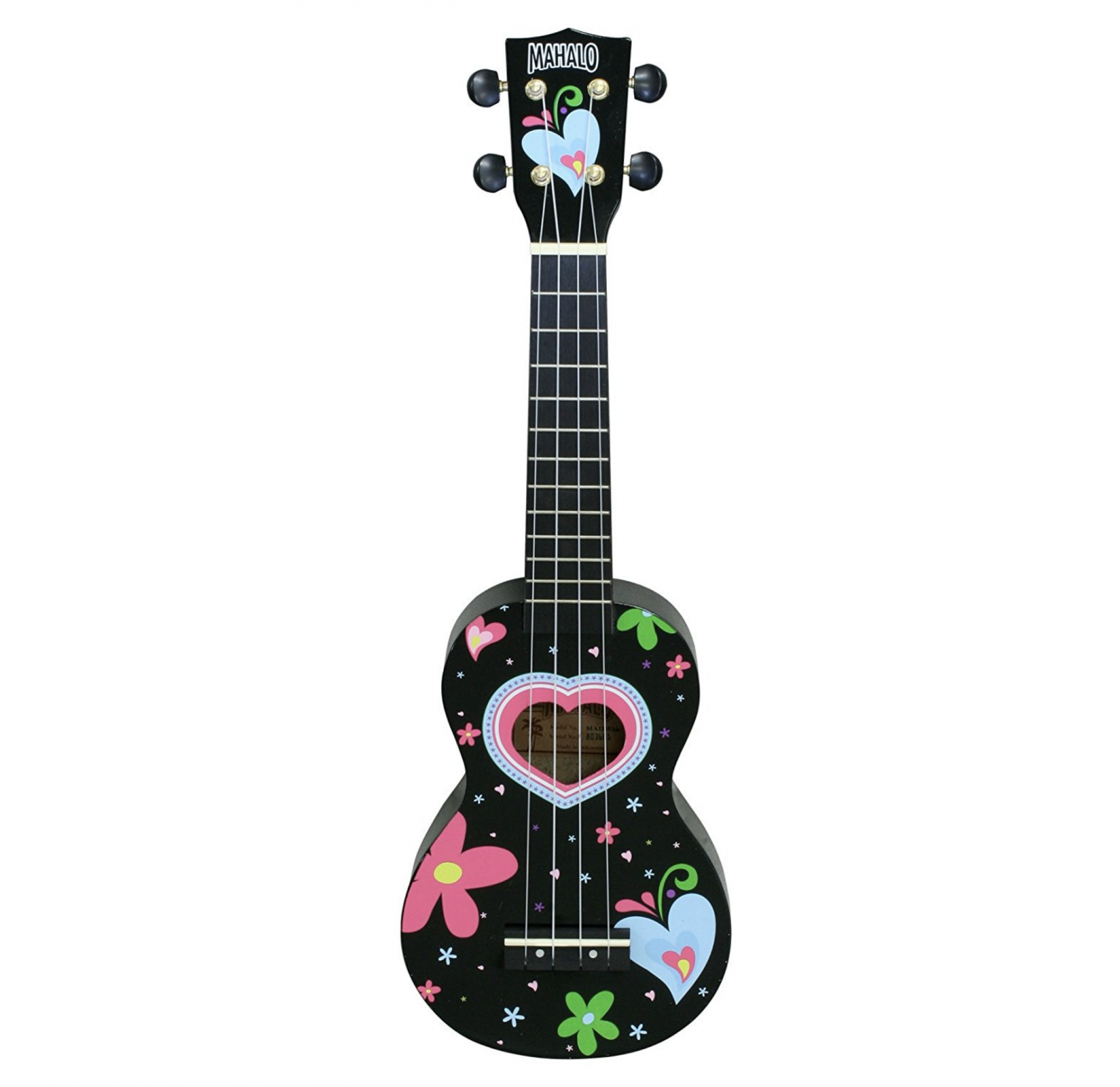 Mahalo Art Series Heart Soprano Ukulele, Black