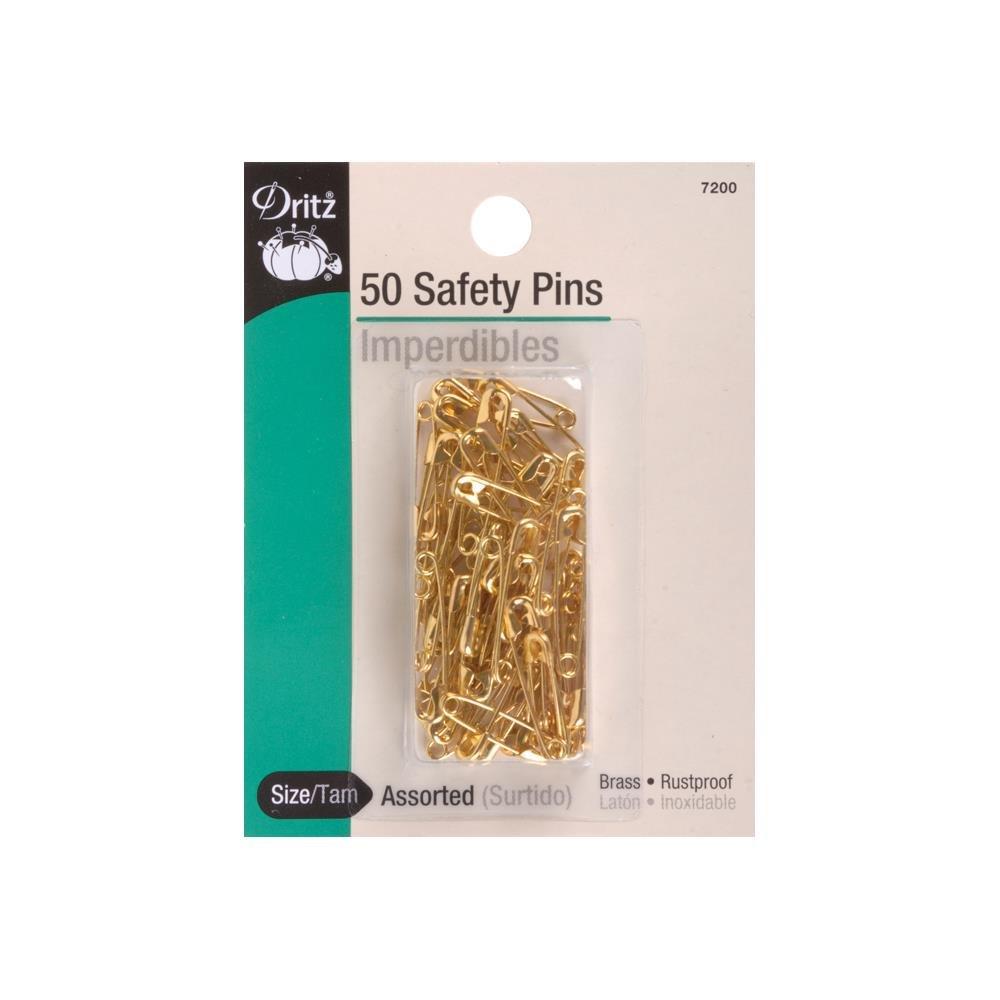 Safety Pins : Assorted 0 & 00 - Brass