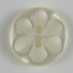 Button : Etched Flower 2 Hole - 14mm