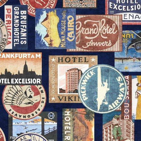 QC : Wanderlust - Passport Stamps (Navy)
