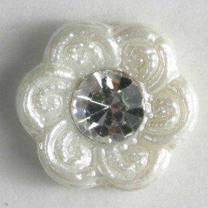 Button : Rhinestone Flower - 11mm