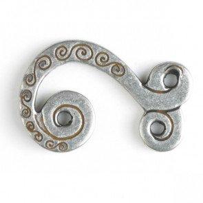 Button : Swirls Clasp - 25mm
