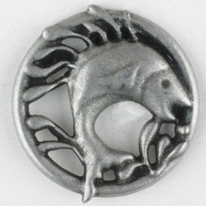 Button : Metal Sassy Salmon - 25mm