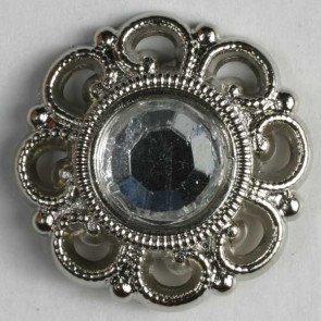 Button : Rhinestone Scroll Frame - 20mm