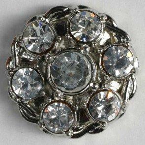 Button : Rhinestone Flower - 23mm