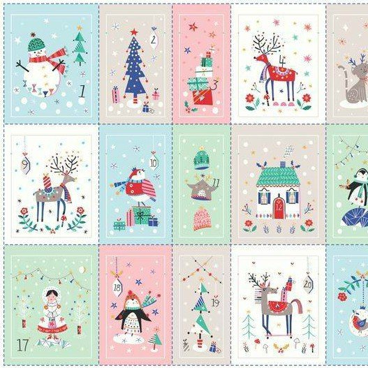 PANEL : Advent Drawstring Bags - Merry & Bright