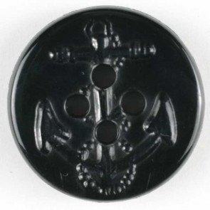 Button : Pea Coat #24 (Black Anchor) - 15mm