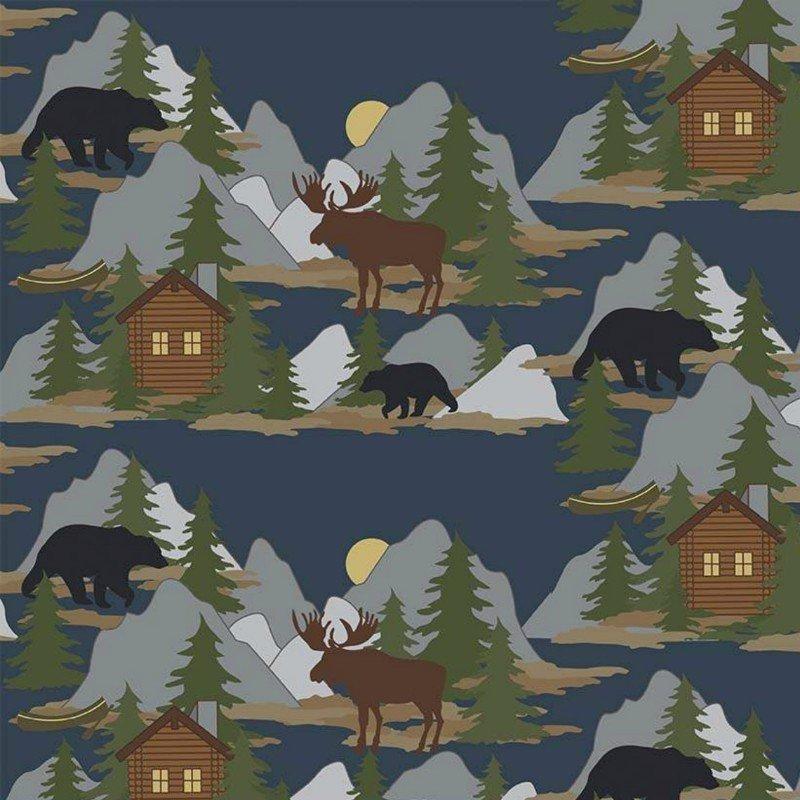 Flannel Prints : Cabin Fever - Scene (Navy)